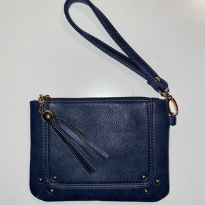 Charming Charlie Wristlet in Navy with tassel